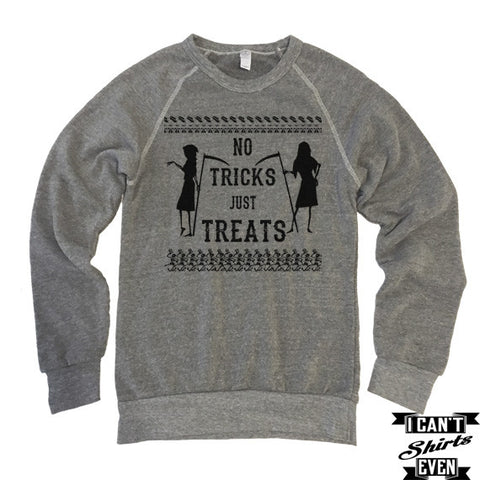 No Tricks Just Treats Halloween Shirt. Eco-Fleece Unisex Sweatshirt.