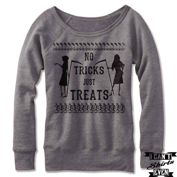 Wide Neck No Tricks Just Treats Off The Shoulder Sweatshirt. Spell Shirt