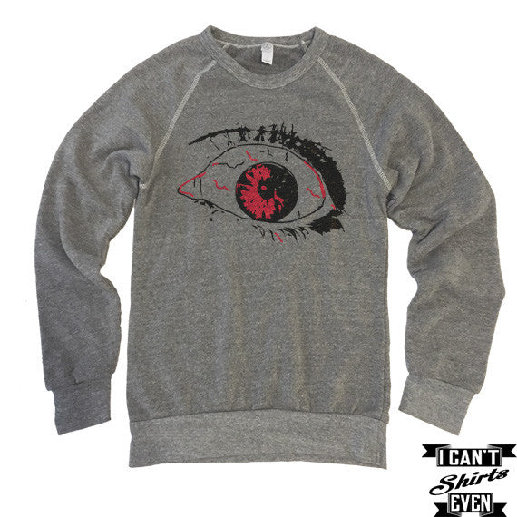 Scary Eye Sweatshirt. Halloween Eco-Fleece Unisex Shirt. Costume.