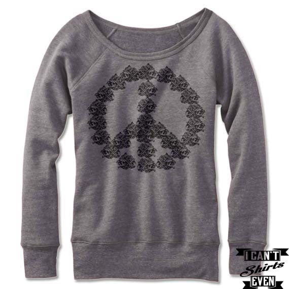 Off the Shoulder Peace Sweatshirt. Halloween Wide Neck. Skeleton Peace.