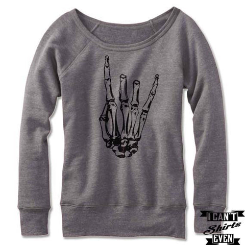 Skeleton Rock Hand Off The Shoulder Halloween Sweatshirt. Wide Neck. Rock 'n' Roll