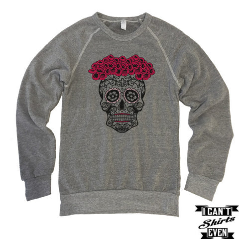 Skull Bride Sweatshirt. Sugar Skull Bride Halloween Eco-Fleece Unisex Shirt.