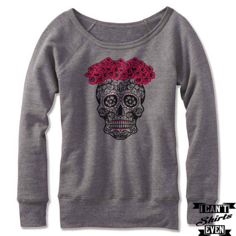 Sugar Skull Bride  Off The Shoulder Halloween Sweatshirt. Wide Neck. Skeleton Bride.