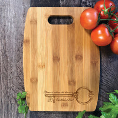 Home Is Where The Heart Is. Cutting Board. Client Gift. Realtors Logo #22