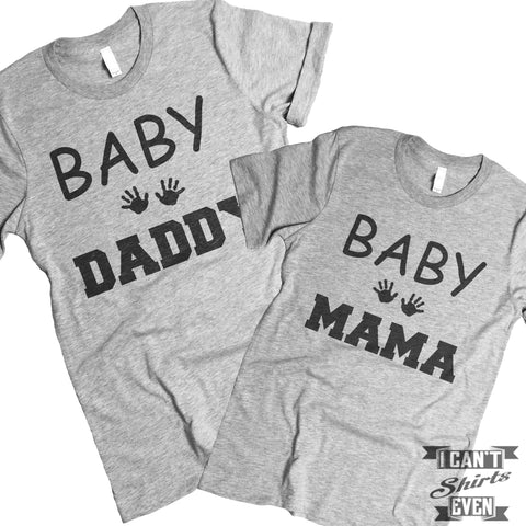 Baby Mama Baby Daddy Tee Shirts. Pregnancy Announcement.
