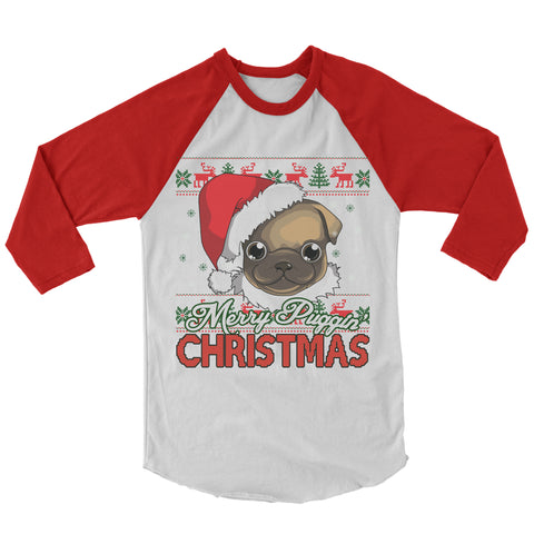 Merry Puggin' Christmas Baseball Shirt