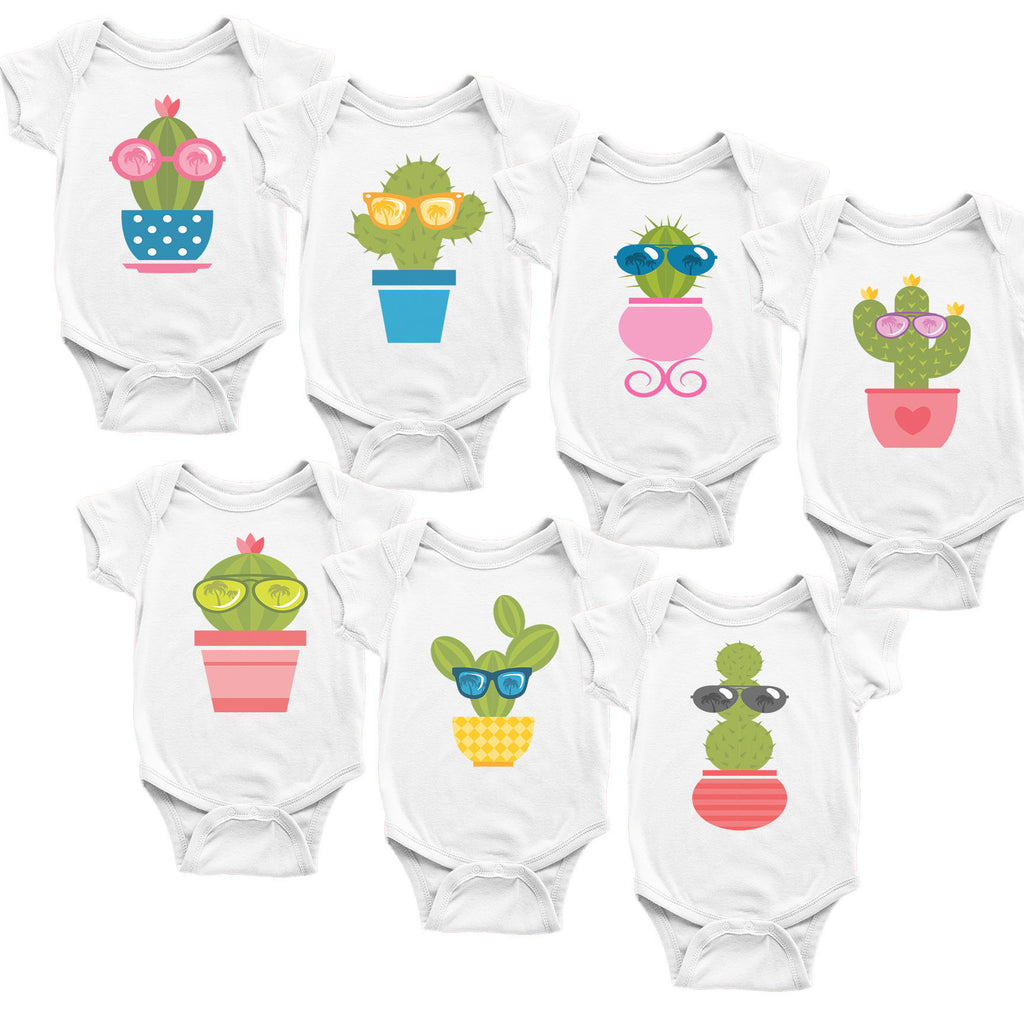 Cactuses. Set of 7 Baby Bodysuits. Baby Shower Gift Set.