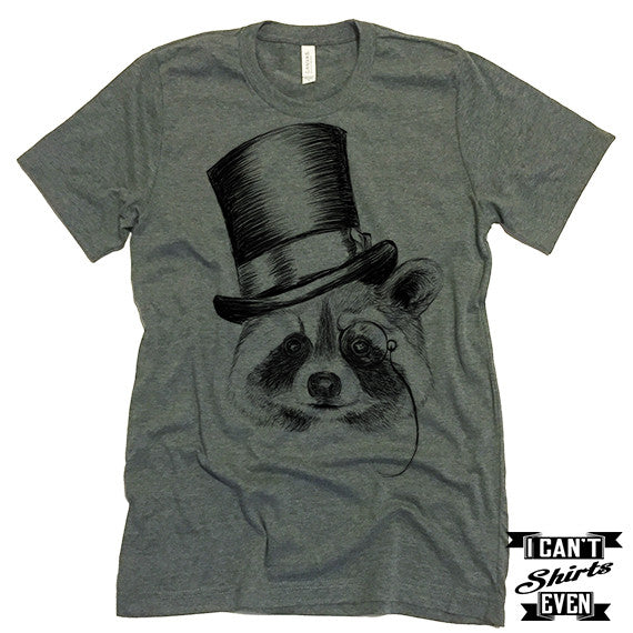 Raccoon Shirt. Unisex Tshirt. Funny Raccoon Tee. Raccoon Wearing A Head.