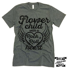Flower Child With A Rock & Roll Heart T-Shirt.