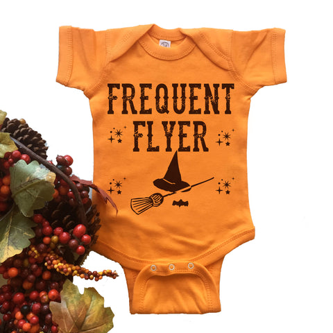 Frequent Flyer Onesie. Witch. Broom.