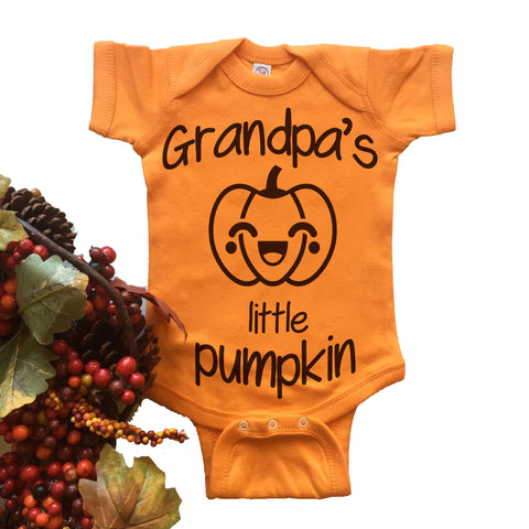 Grandpa's Little Pumpkin Onesie. Bodysuit.