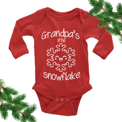 Grandpa's Little Snowflake Onesie. Christmas Baby Outfit.