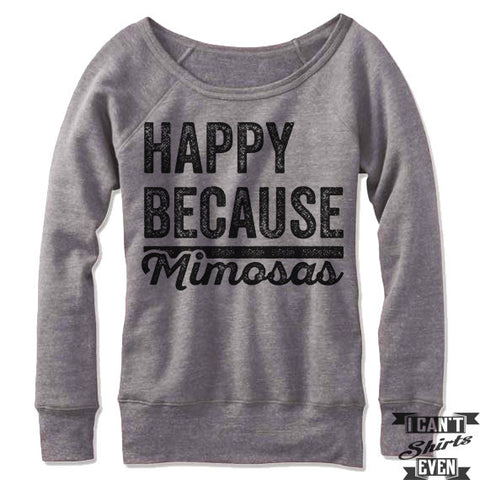 Happy Because Mimosas Off-The-Shoulder Sweater