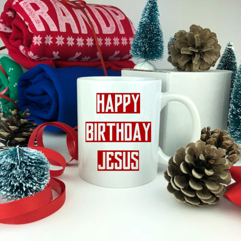Happy Birthday Jesus Mug. Custom Mug.