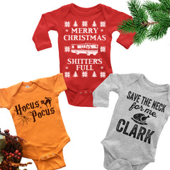Set of Three Baby Bodysuits. Halloween. Thanksgiving. Christmas.