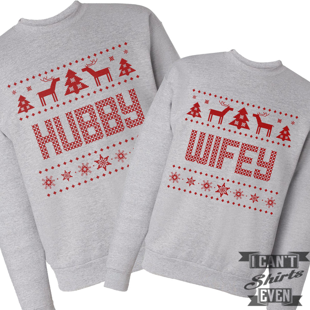 Wifey Hubby Ugly Christmas Sweaters  I Cant Even Shirts-6895