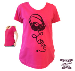 Headset Love Maternity Shirt. Pregnancy Tee. Pregnancy Announcement Shirt. T-shirt.