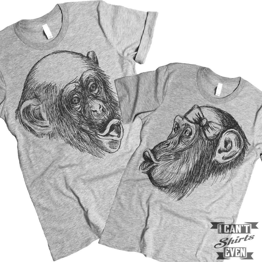 Chimpanzee Boy Girl Kiss.  Couples T Shirt