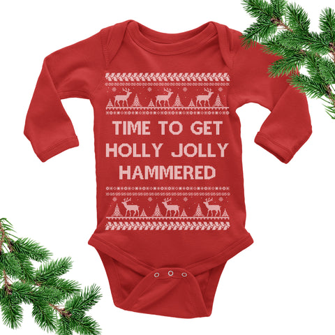 Time to Get Holly Jolly Hammered Onesie. Baby Bodysuit.