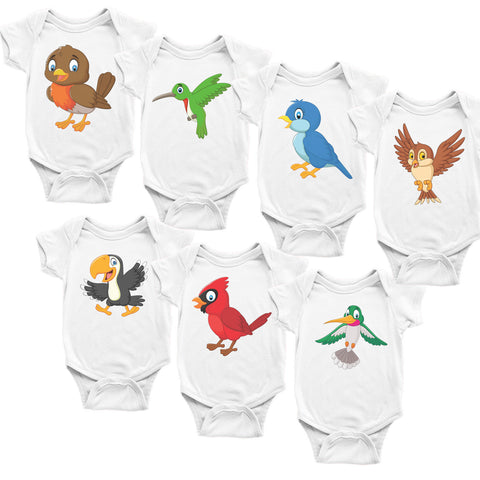 Birds. Set of 7 Baby Bodysuits. Baby Shower Gift Set.