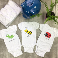 Insects. Set of 7 Baby Bodysuits. Baby Shower Gift Set.