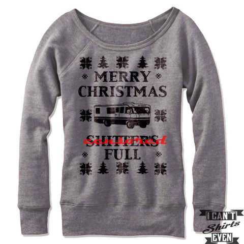 Women's Ugly Christmas Off Shoulder. Merry Christmas Shitter's Full. Christmas Vacation Ugly Sweater. Fleece.