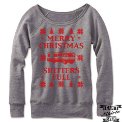 Merry Christmas Shitter's Full Off The Shoulder Sweatshirt. Christmas Vacation Ugly Sweater.