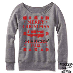 Merry Christmas Off The Shoulder Sweatshirt. Shitter's Full Christmas Vacation Ugly Sweater.
