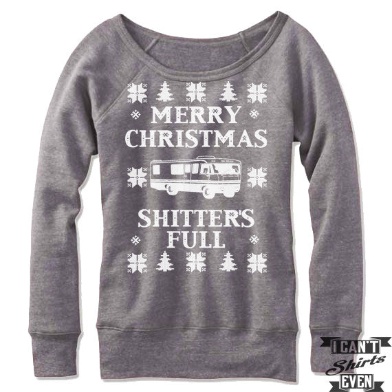 Christmas Vacation Sweaters.Merry Christmas Shitter S Full Off The Shoulder Sweatshirt Christmas Vacation Ugly Sweater