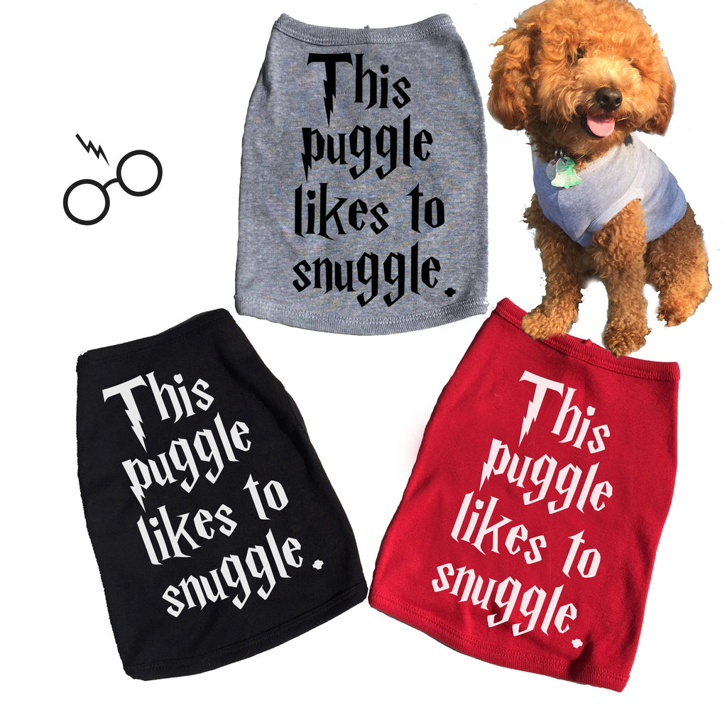 This Puggle Likes To Snuggle. Dog Tee. T-shirt.