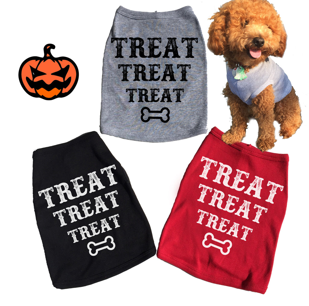 Treat Treat Treat Dog Tank. Tee. Halloween. T-shirt.