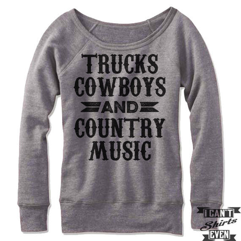 Trucks Cowboys And Country Music Off-The-Shoulder Sweater