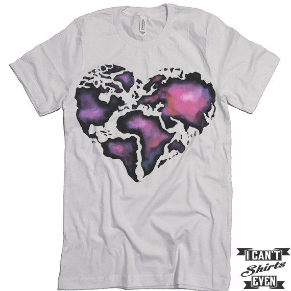 World Map Heart Unisex Tee. White T Shirt. Tee. Shirt. Gift.