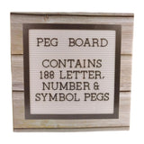 Peg Board Contains 188 Letter Number & Symbol Pegs