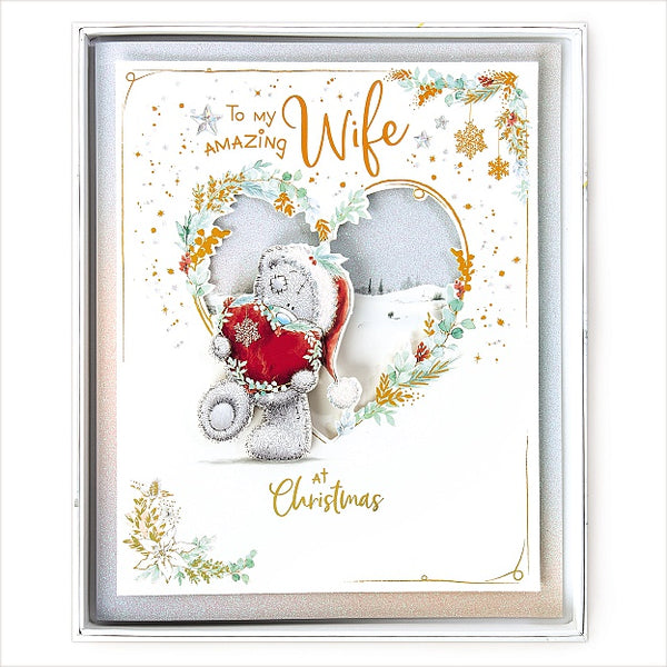 Wife Christmas Card -  Bear With Love Heart