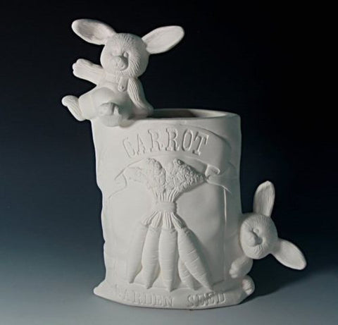 Ceramic Bisque Rabbit Carrot Seed Packet U Paint