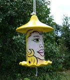 Witchy Face Bird Seed Feeder Yellow Hand Painted Ceramic