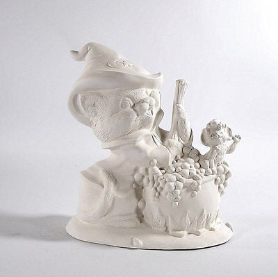 Witch Cat with Cauldron Ready to Paint Ceramic Bisque Made to Order