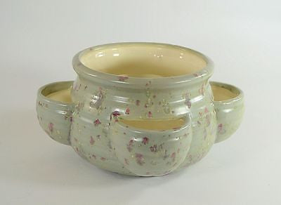 Strawberry Jar Pot Planter Ceramic Gray and Pink