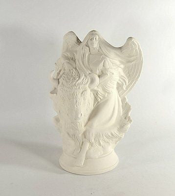 Angel with Buffalo Native American Ready to Paint Ceramic Bisque