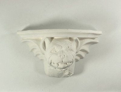 Ceramic bisque Bull Dog Gargoyle Shelf Scioto Molds U Paint