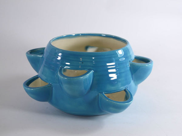 Strawberry Jar Pot Planter Ceramic Blue