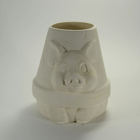 Pig Pot Planter Ready to Paint Ceramic Bisque