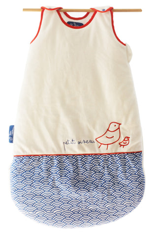 Petit Oiseau (Little Bird, Cobalt & Red-Orange)