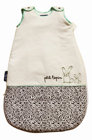 Petit Lapin Baby Sleep Sack (Little Rabbit, Mint & Black)