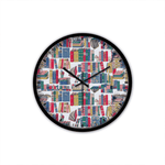 Bookish Pattern Non-Ticking Silent Wall Clock with Modern and Nice Design for Wall Decoration (Black)