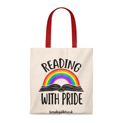Reading With Pride Canvas Tote Bag - Vintage style - Gifts For Reading Addicts