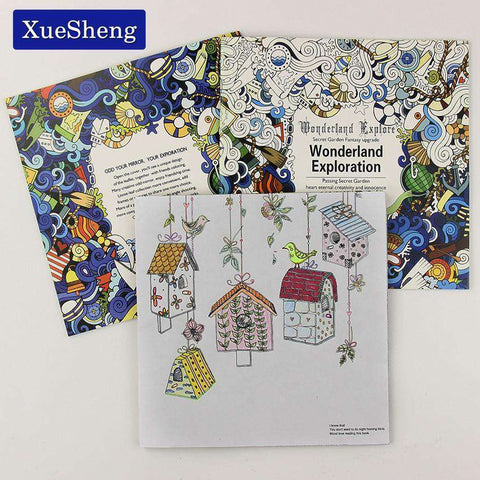 24 Pages Wonderland Exploration Coloring Book for Adult & Children - Gifts For Reading Addicts