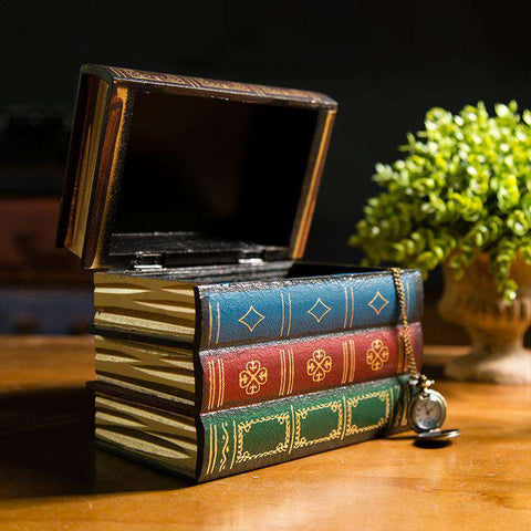 Creative Retro Wooden Books Stack Storage Box - Gifts For Reading Addicts