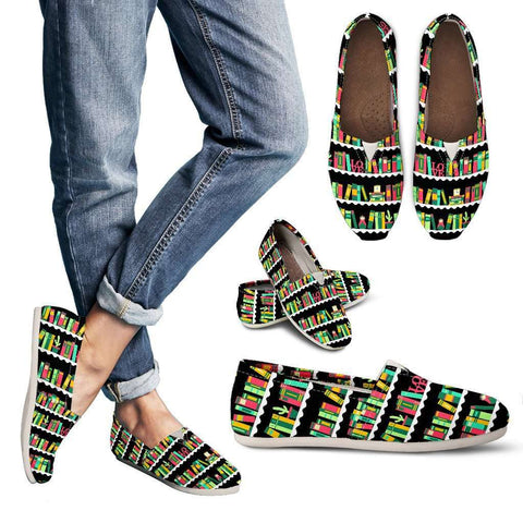 Bookshelves Women's casual Shoes-For Reading Addicts